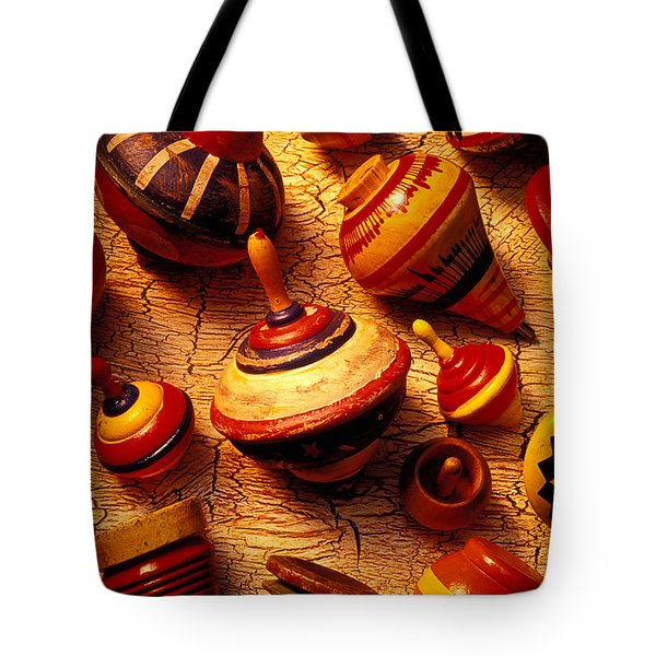 Assorted toy tops Tote Bag by Garry Gay