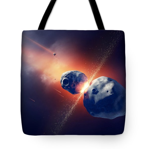 Asteroids Collide And Explode  In Space Tote Bag by Johan Swanepoel