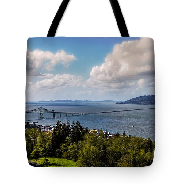 Astoria - Megler Bridge Tote Bag by Jon Burch Photography