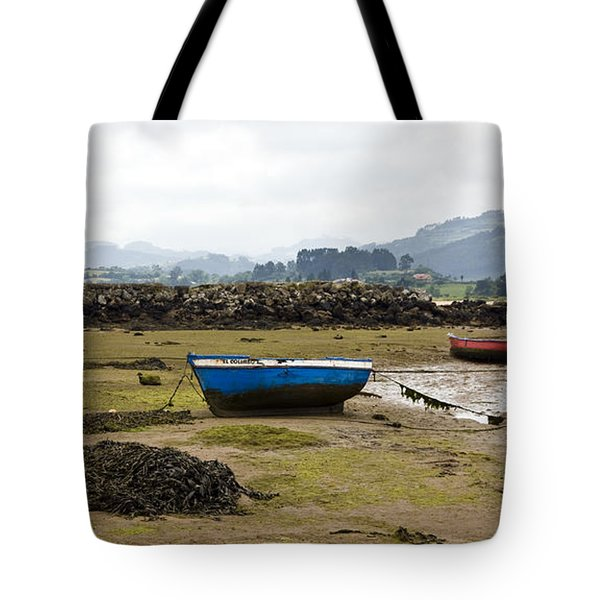 Asturias Seascape With Boats Tote Bag by Frank Tschakert