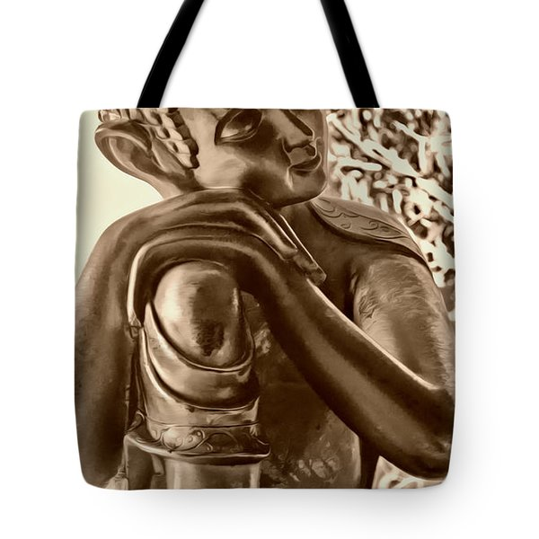 At Peace Sepia Tote Bag by Cheryl Young