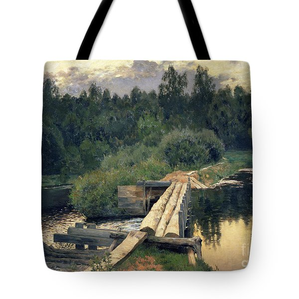 At The Shallow Tote Bag by Isaak Ilyich Levitan
