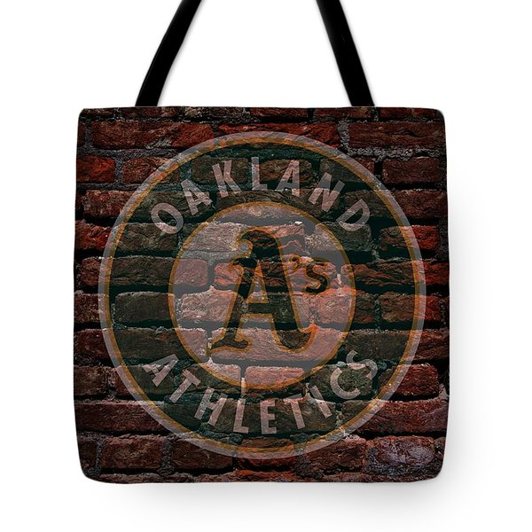 Athletics Baseball Graffiti on Brick  Tote Bag by Movie Poster Prints