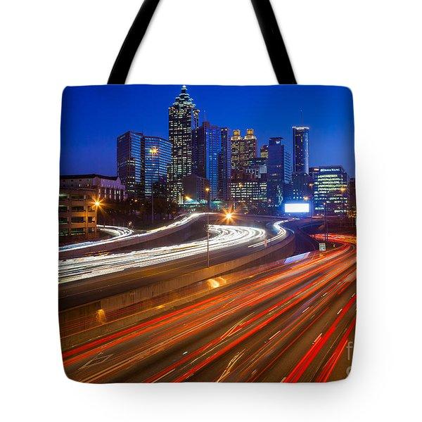Atlanta Interstate I-85 By Night Tote Bag by Inge Johnsson