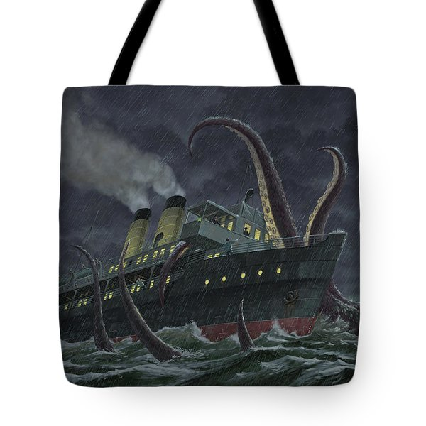 attack of giant squid Tote Bag by Martin Davey