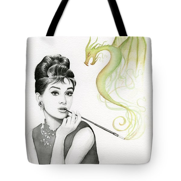 Audrey And Her Magic Dragon Tote Bag by Olga Shvartsur