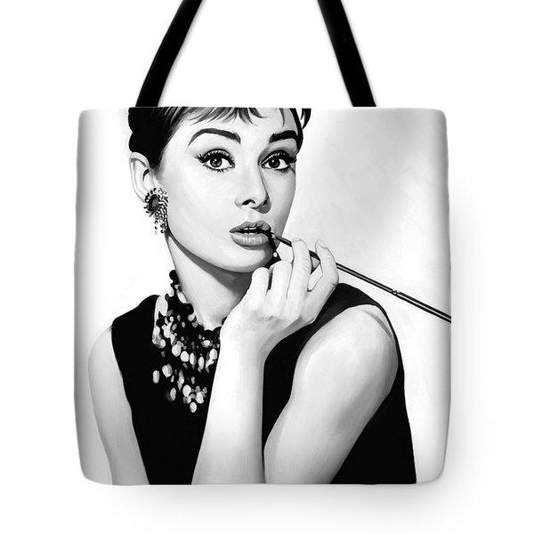 Audrey Hepburn Artwork Tote Bag by Sheraz A