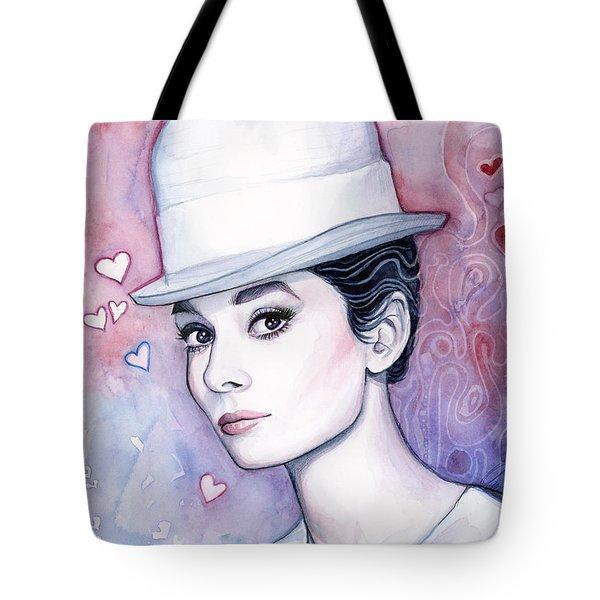 Audrey Hepburn Fashion Watercolor Tote Bag by Olga Shvartsur