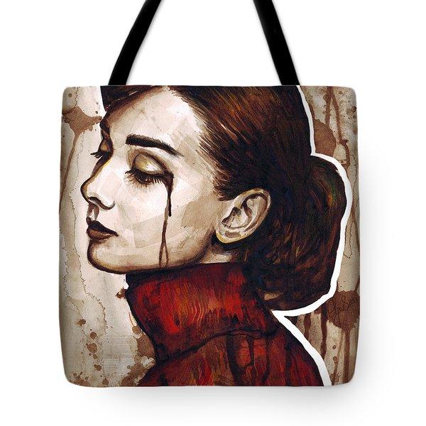 Audrey Hepburn Portrait Tote Bag by Olga Shvartsur
