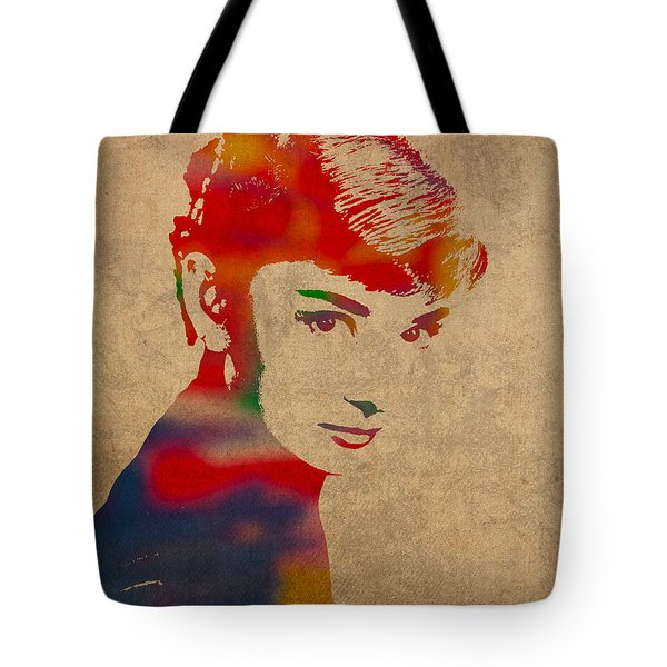 Audrey Hepburn Watercolor Portrait On Worn Distressed Canvas Tote Bag by Design Turnpike