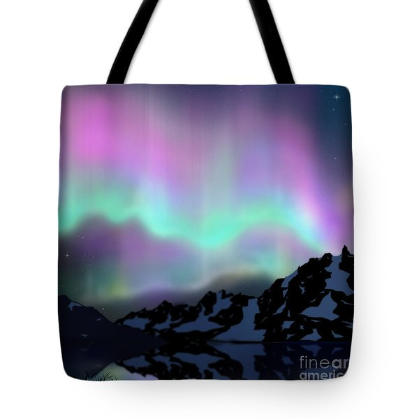 Aurora Over Lake Tote Bag by Atiketta Sangasaeng