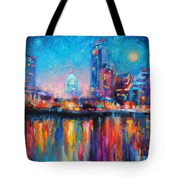 Austin Art Impressionistic Skyline Painting #2 Tote Bag by Svetlana Novikova
