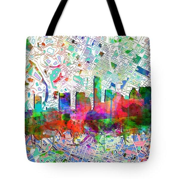 Austin Texas Abstract Panorama 7 Tote Bag by Bekim Art