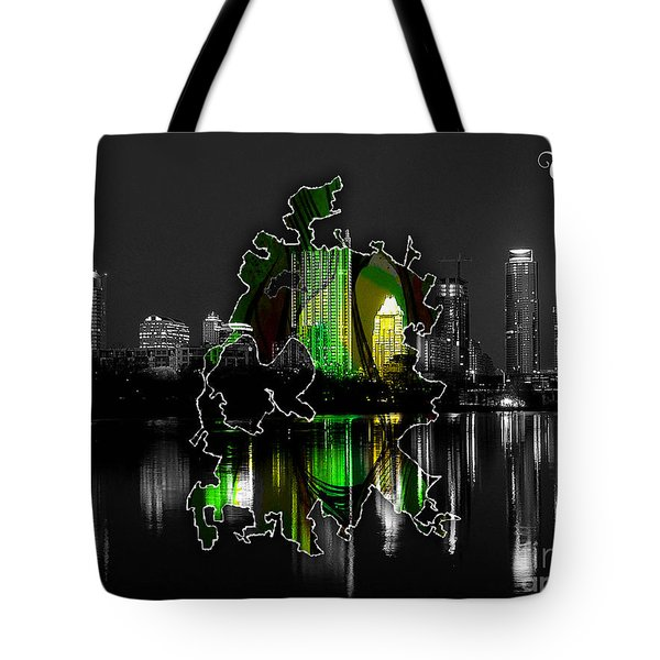 Austin Texas Map And Skyline Watercolor Tote Bag by Marvin Blaine