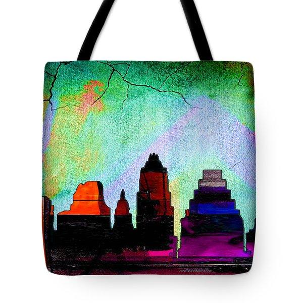 Austin Texas Skyline Watercolor Tote Bag by Marvin Blaine