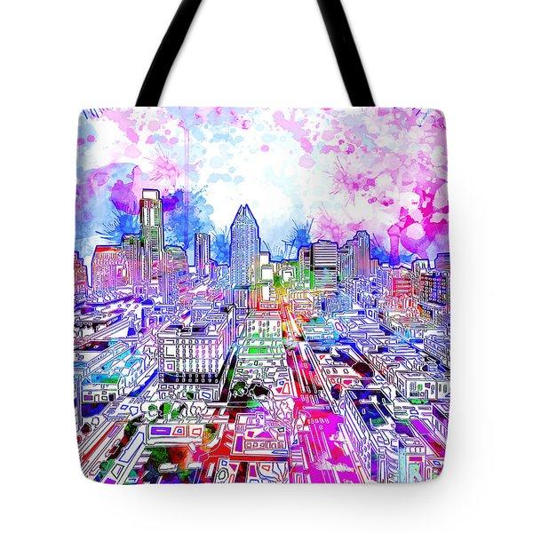 Austin Texas Watercolor Panorama Tote Bag by Bekim Art