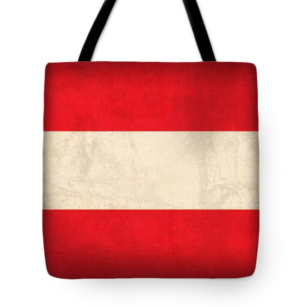 Austria Flag Vintage Distressed Finish Tote Bag by Design Turnpike