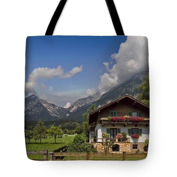 Austrian Cottage Tote Bag by Debra and Dave Vanderlaan