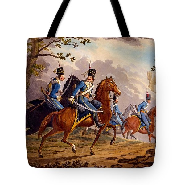 Austrian Hussars In Pursuit Tote Bag by Conrad Gessner