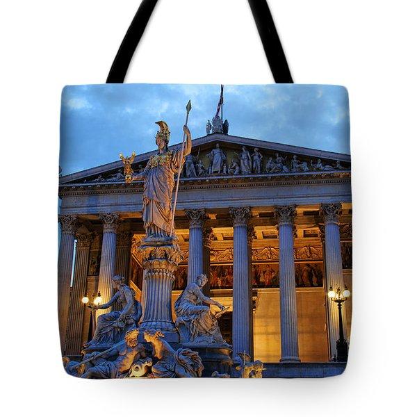 Austrian Parliament Building Tote Bag by Mariola Bitner