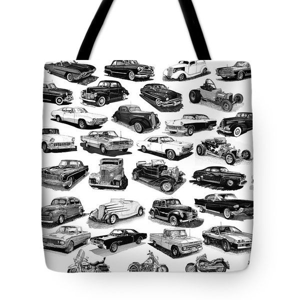 AUTOMOTIVE PEN AND INK POSTER Tote Bag by Jack Pumphrey