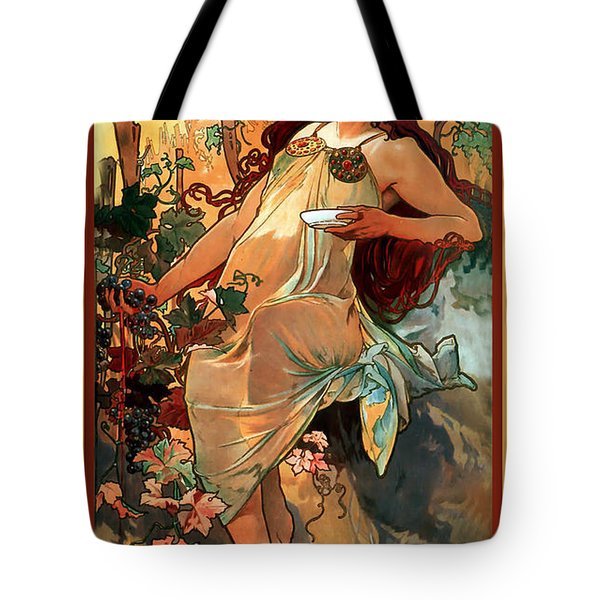 Autumn Tote Bag by Alphonse Maria Mucha