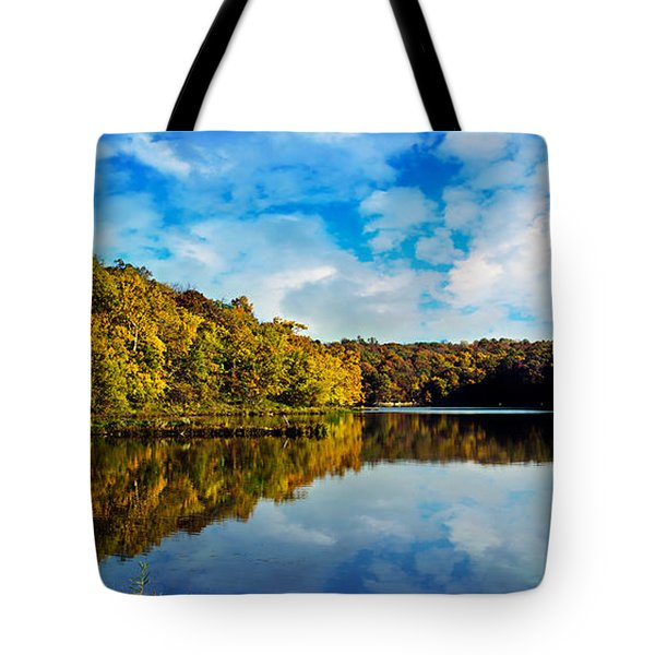 Autumn At Sailboat Cove Tote Bag by Andee Design