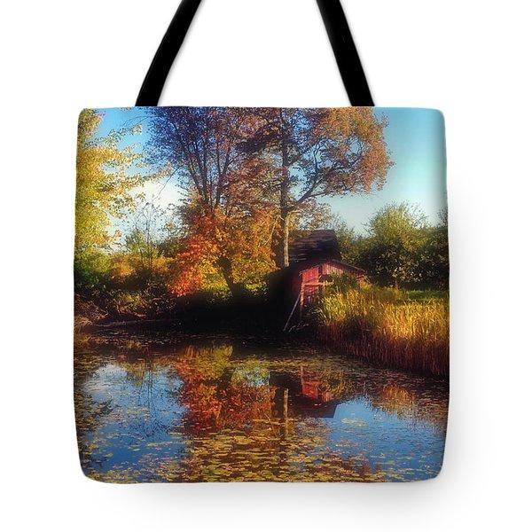 Autumn Barn Tote Bag by Joann Vitali