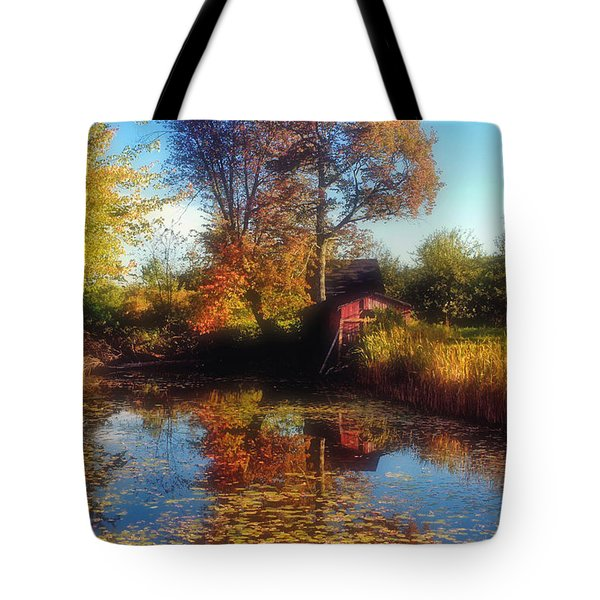 Autumn Barn Tote Bag by Joann Vitali