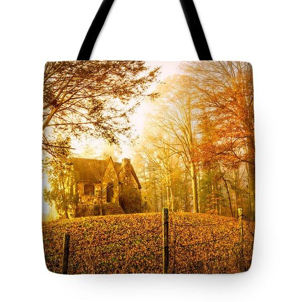 Autumn Cottage Tote Bag by Debra and Dave Vanderlaan