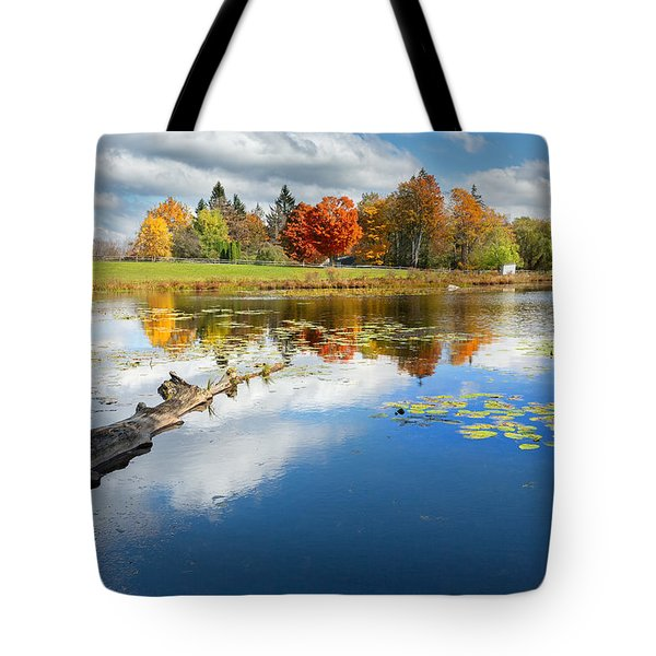 Autumn Farm Pond Tote Bag by Bill  Wakeley