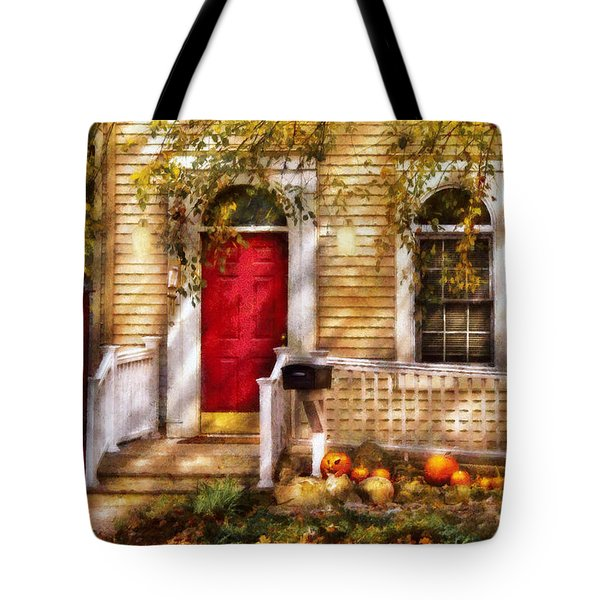 Autumn - House - A Hint Of Autumn  Tote Bag by Mike Savad