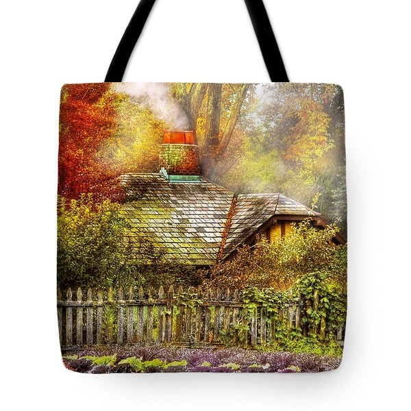 Autumn - House - On the way to grandma's House Tote Bag by Mike Savad