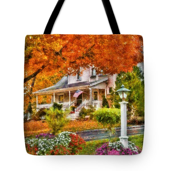 Autumn - House - The Beauty Of Autumn Tote Bag by Mike Savad