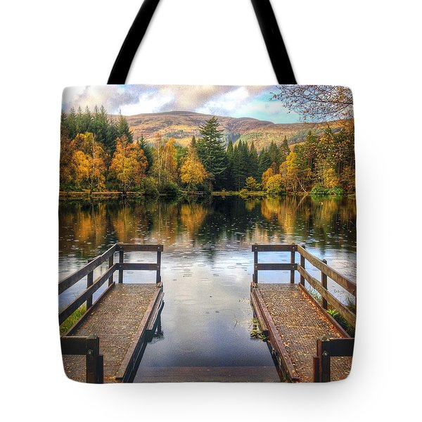 Autumn In Glencoe Lochan Tote Bag by Dave Bowman