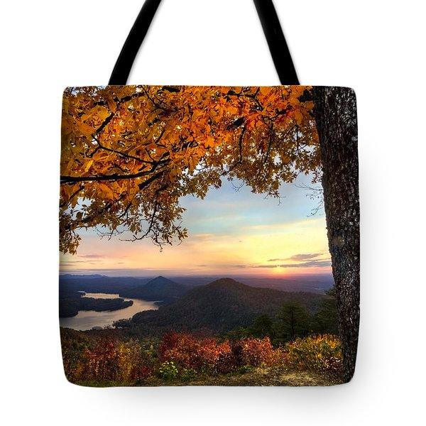 Autumn Lake Tote Bag by Debra and Dave Vanderlaan