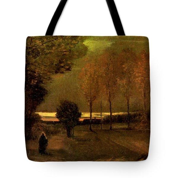 Autumn Landscape At Dusk 1885 Tote Bag by Vincent Van Gogh