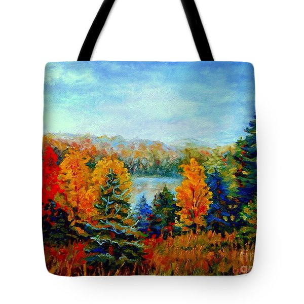 AUTUMN LANDSCAPE QUEBEC RED MAPLES AND BLUE SPRUCE TREES Tote Bag by CAROLE SPANDAU
