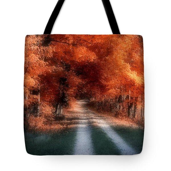Autumn Lane Tote Bag by Tom Mc Nemar
