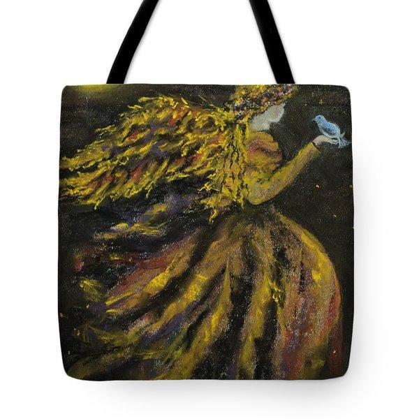 Autumn Moon Angel Tote Bag by Carla Carson