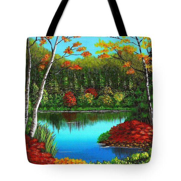 Autumn On The Water Tote Bag by Cyndi Kingsley