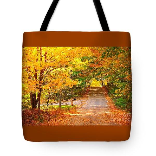 Autumn Road Home Tote Bag by Terri Gostola