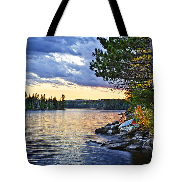 Autumn Sunset At Lake Tote Bag by Elena Elisseeva