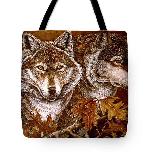 Autumn Wolves Tote Bag by Sandy Williams