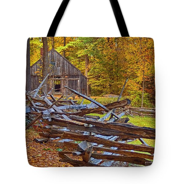 Autumn Wooden Fence Tote Bag by Joann Vitali