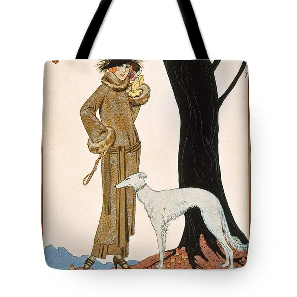 Autumnal Symphony Afternoon Coat And Dress By Worth Tote Bag by Georges Barbier