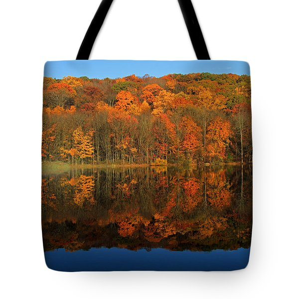 Autumns Colorful Reflection Tote Bag by Karol Livote