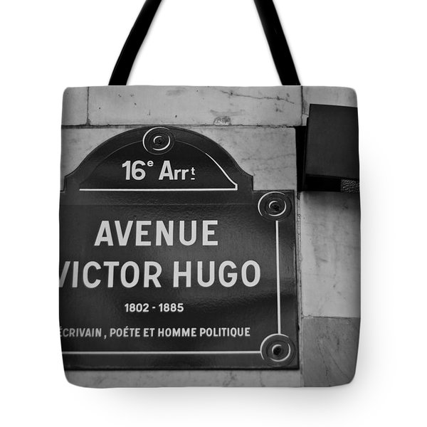 Avenue Victor Hugo Paris Road Sign Tote Bag by Georgia Fowler