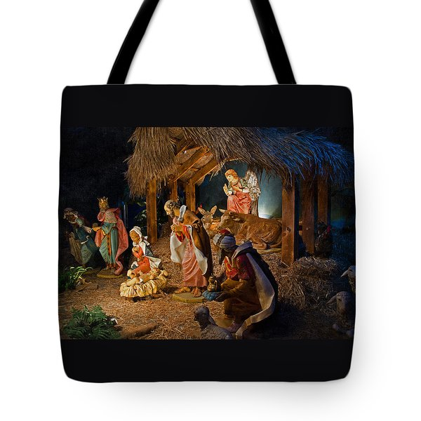 Away In The Manger  Tote Bag by Susan  McMenamin