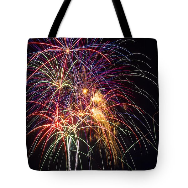 Awesome fireworks Tote Bag by Garry Gay